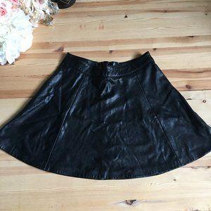 Faux Vegan Leather Twirly Short Skirt